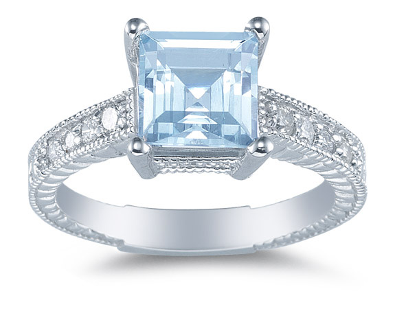 Princess Cut Aquamarine and Diamond Ring, 14K White Gold