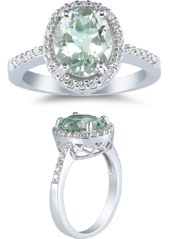 Sea-Foam Green Amethyst and Diamond Ring, 14K White Gold