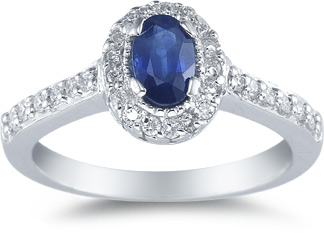 Sapphire and Diamond Ring, 14K White Gold