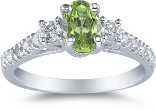 Buy Peridot and Diamond Ring, 14K White Gold