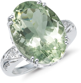 Large Green Amethyst and Diamond Ring, 14K White Gold