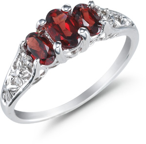 Three Stone Oval Garnet Ring, 14K White Gold