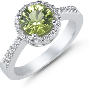 1.50 Carat Peridot and Diamond Ring, 14K White Gold (Rings, Apples of Gold)