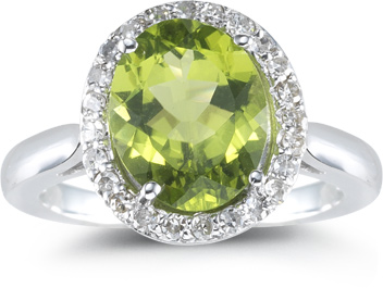 Peridot and 1/4 Ct. Diamond Ring, 14K White Gold