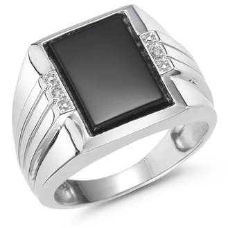 Men's Onyx and Diamond Ring, 14K White Gold