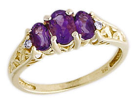 Buy Amethyst and Diamond Art Deco Ring, 14K Yellow Gold