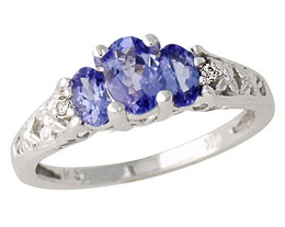 Buy Tanzanite and Diamond Art Deco Ring, 14K White Gold