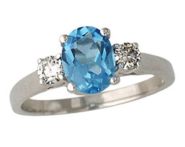 Blue Topaz and Diamond Three Stone Ring, 14K White Gold
