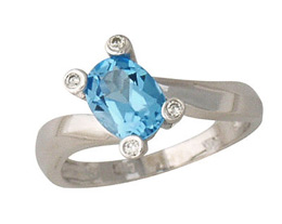 Buy Blue Topaz and Diamond Ring, 10K White Gold