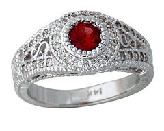 Buy Diamond and Garnet Ring, 14K White Gold