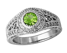 Buy Peridot and Diamond Antique Ring, 14K White Gold