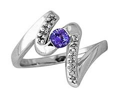 Buy Tanzanite and Diamond Swirl Ring, 14K White Gold