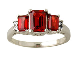 Emerald Cut Garnet and Diamond Ring, 10K White Gold
