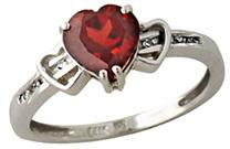 Buy Garnet Heart and Diamond Ring, 10K White Gold