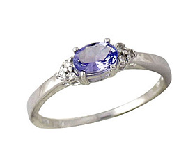 Tanzanite and Diamond Ring, 10K White Gold