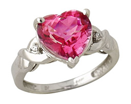 Pink Topaz Heart and Diamond Ring, 14K White Gold (Apples of Gold)