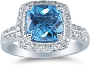 Cushion-Cut 8mm Blue Topaz and Diamond Ring