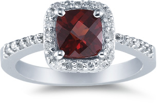Buy Cushion-Cut Garnet and Diamond Ring, 14K White Gold