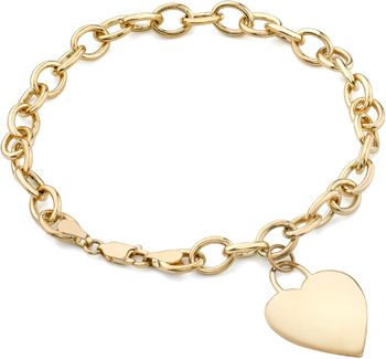 Rolo Heart Charm Bracelet, 14K Yellow Gold