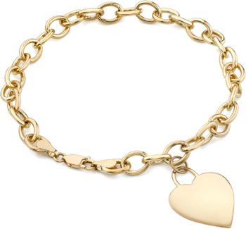 Rolo Heart Charm Bracelet 14K Yellow Gold