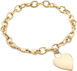 4mm Rolo Heart Charm Bracelet, 14K Yellow Gold