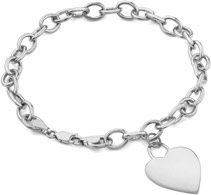 5mm Rolo Heart Charm Bracelets in 14K White Gold