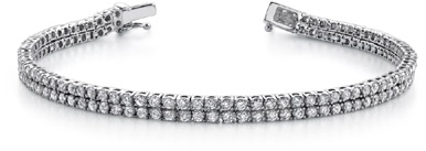 3.70 Carat Two Row Diamond Tennis Bracelet in 18K White Gold