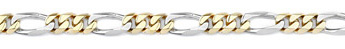 Figaro Bracelet, 14K Two-Tone Gold, 7mm