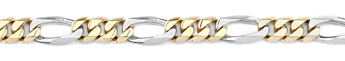Figaro Bracelet, 14K Two-Tone Gold, 9mm