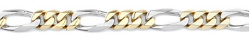Figaro Bracelet, 14K Two-Tone Gold, 10mm
