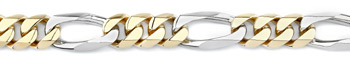 Figaro Bracelet, 14K Two-Tone Gold, 12mm