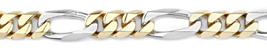 Figaro Bracelet, 14K Two-Tone Gold, 13mm