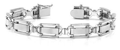 Designer 14K White Gold Men's Bracelet