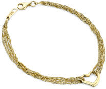 Dangling Heart Bracelet, 14K Yellow Gold