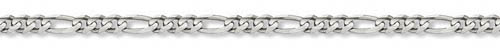 14K White Gold Figaro Chain, 6mm