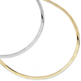 Reversible Omega Necklace, 14K Gold, 2mm (Necklaces, Apples of Gold)