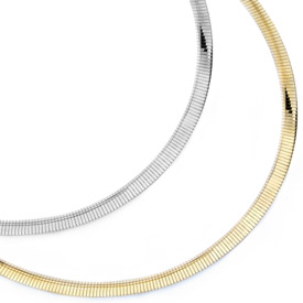 Reversible Omega Necklace, 14K Gold, 4mm (Necklaces, Apples of Gold)