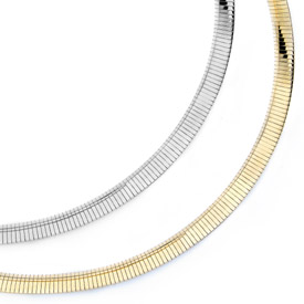 Reversible Omega Necklace, 14K Gold, 6mm (Necklaces, Apples of Gold)