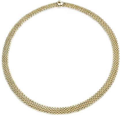 14K Solid Gold Mesh Necklace