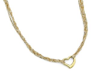 Dangling Heart Necklace, 14K Yellow Gold