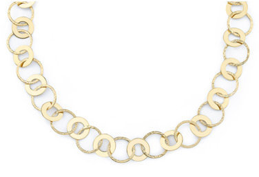 Polished and Textured Circle Necklace, 14K Gold