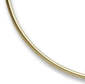 14K Yellow Gold 3mm Omega Necklace