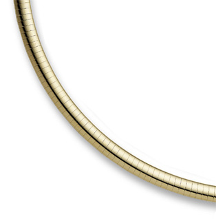 14K Yellow Gold 8mm Omega Necklace