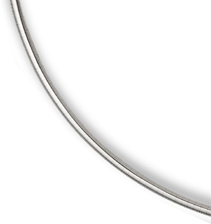 14K White Gold 4mm Omega Necklace