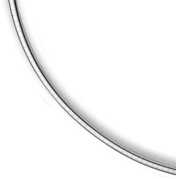 14K White Gold 6mm Omega Necklace
