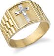 Men's Crucifix Ring, 14K Two-Tone Gold