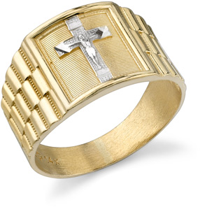 Men's Crucifix Ring, 14K Two-Tone Gold