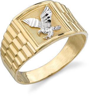 Men's Eagle Ring, 14K Two-Tone Gold