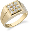 9 Stone Men's CZ Ring, 14K Yellow Gold