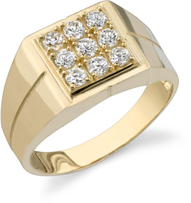 9 Stone Men's CZ Ring, 14K Yellow Gold